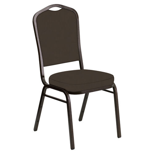 Our Embroidered Crown Back Banquet Chair in E-Z Sierra Brown Vinyl - Gold Vein Frame is on sale now.
