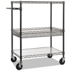 Alera® Three-Tier Wire Rolling Cart - 34w x 18d x 40h - Black Anthracite