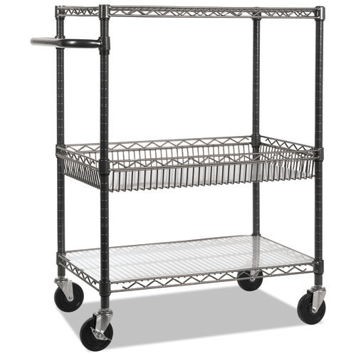 Our Alera® Three-Tier Wire Rolling Cart - 34w x 18d x 40h - Black Anthracite is on sale now.