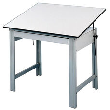 DesignMaster Gray Steel Frame Angled Melamine White Top Table - 60