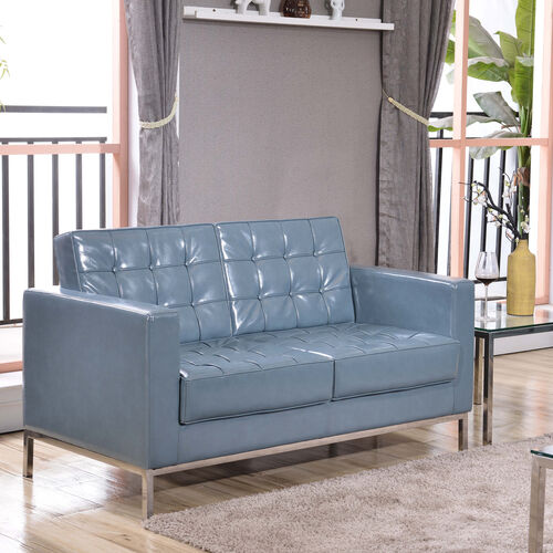 HERCULES Lacey Series Contemporary Gray LeatherSoft Loveseat with Stainless Steel Frame