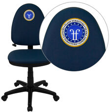 Embroidered Mid-Back Navy Blue Fabric Multifunction Swivel Ergonomic Task Office Chair with Adjustable Lumbar