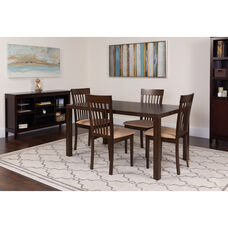 Eastchester 5 Piece Espresso Wood Dining Table Set with Rail Back Wood Dining Chairs - Padded Seats