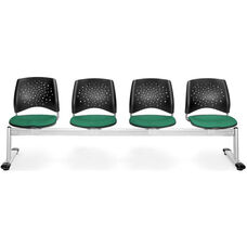 Stars 4-Beam Seating with 4 Fabric Seats - Shamrock Green