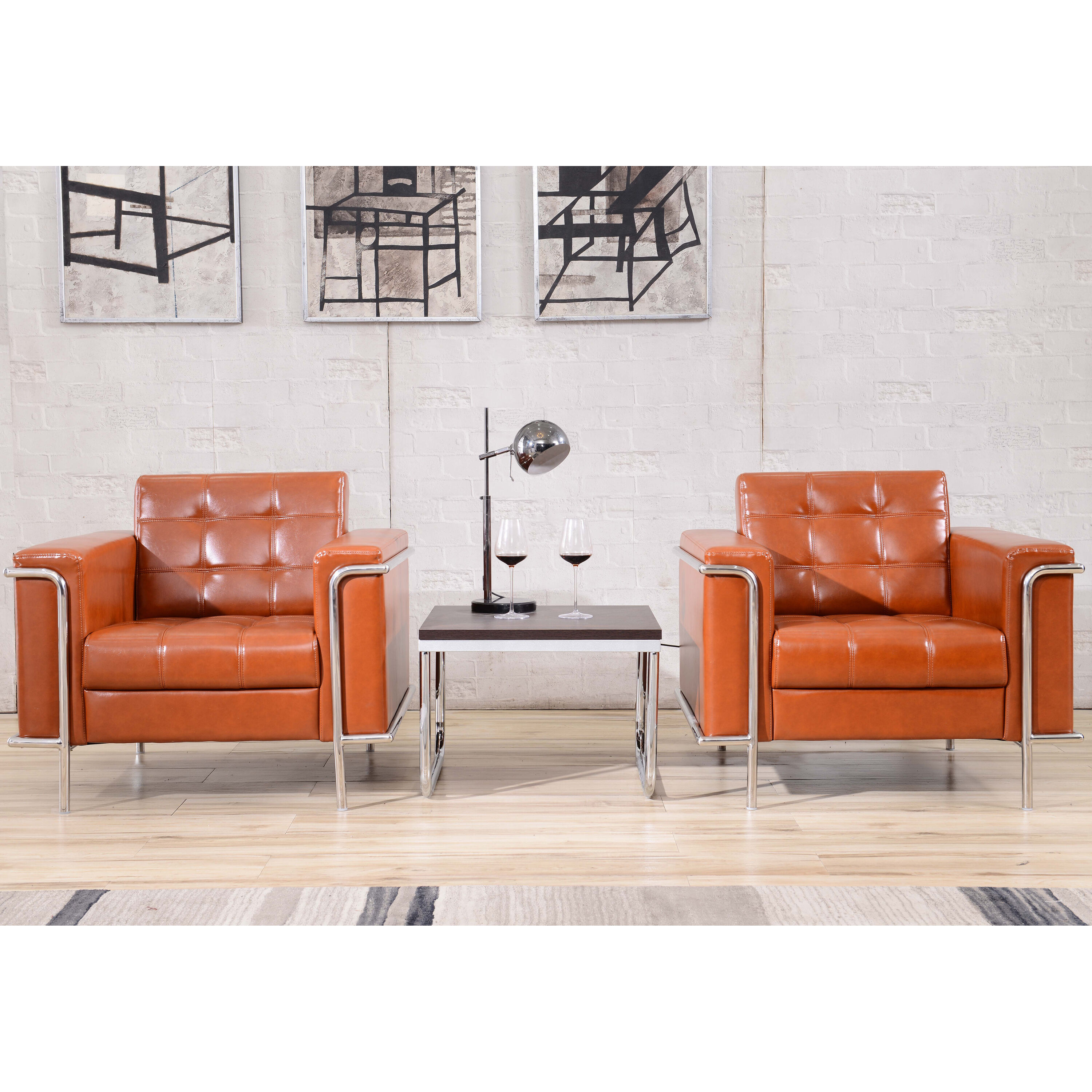Our HERCULES Lesley Series Contemporary Cognac Leather Chair With Encasing  Frame Is On Sale Now.