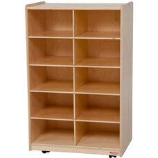 Wooden Vertical Storage Unit with 10 Orange Plastic Trays - 24