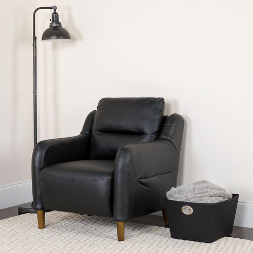Our Newton Hill Upholstered Bustle Back Arm Chair in Black LeatherSoft is on sale now.