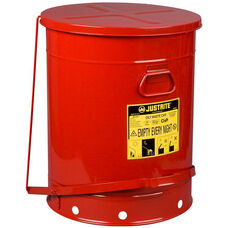 21 Gallon Steel Foot-Operated Oily Waste Can - Red