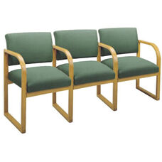 Contour Series Open Back 3 Seats with Sled Base and Center Arms