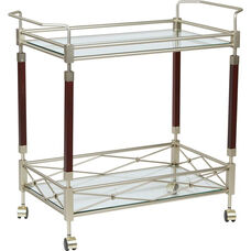 OSP Designs Melrose Serving Cart with Tempered Glass Shelves and Solid Wood Poles - Nickel