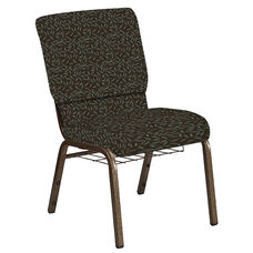 Embroidered 18.5''W Church Chair in Jasmine Chocaqua Fabric with Book Rack - Gold Vein Frame