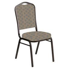 Embroidered Crown Back Banquet Chair in Cirque Quartz Fabric - Gold Vein Frame
