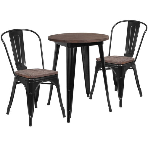"Our 24"" Round Metal Table Set with Wood Top and 2 Stack Chairs is on sale now."
