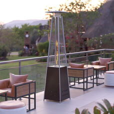 Patio Outdoor Heating-Bronze Stainless Steel Pyramid 42,000 BTU Propane Heater with Wheels for Commercial & Residential Use