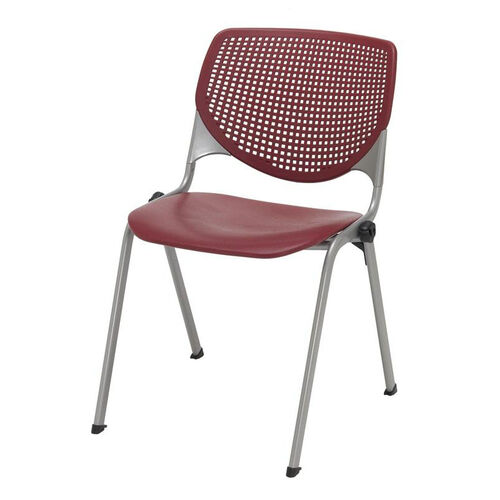 2300 KOOL Series Stacking Poly Armless Chair with Perforated Back and Silver Frame - Burgundy