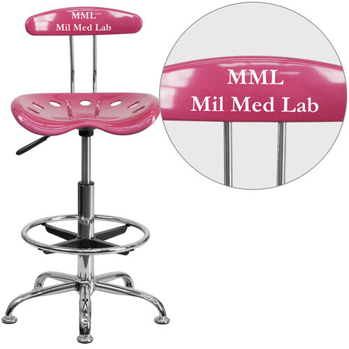 Our Personalized Vibrant Pink and Chrome Drafting Stool with Tractor Seat is on sale now.