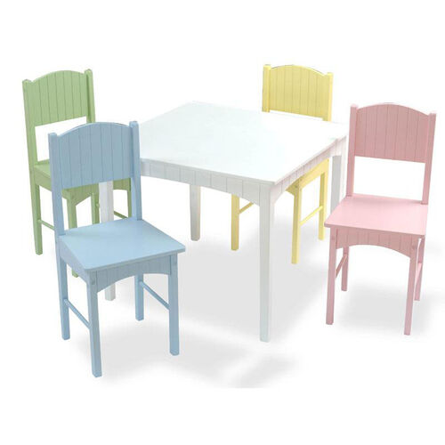 Nantucket Five Piece Kids Wooden Square Table and Four Chairs - Pastel