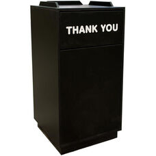 32 Gallon Melamine Exterior Trash Receptacle with Liner - Black Finish