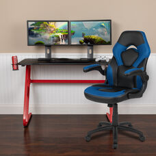 BlackArc Red Gaming Desk and Blue/Black Racing Chair Set with Cup Holder and Headphone Hook