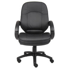 LeatherPLUS Executive Chair with Padded Armrests and Adjustable Seat Height - Black