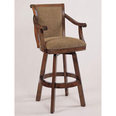 Brandon Swivel Barstool - Warm Cherry with Brown Fabric