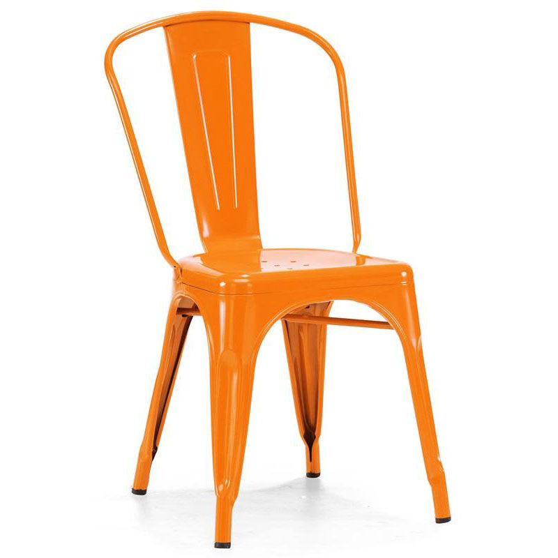 Dreux Glossy Orange Stackable Steel Side Chair   Set Of 4
