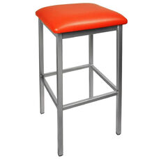 Trent Backless Silver Barstool - Red Vinyl Seat