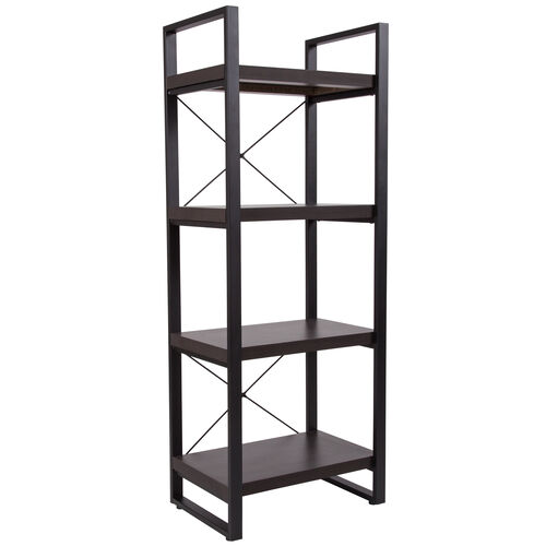 "Our Thompson Collection 4 Shelf 62""H Etagere Bookcase in Charcoal Wood Grain Finish is on sale now."