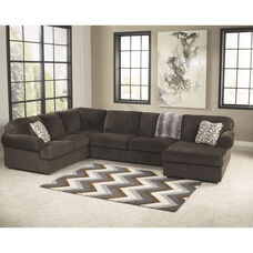 Signature Design by Ashley Jessa Place 3-Piece Left Side Facing Sofa Sectional in Chocolate Fabric