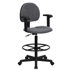Gray Fabric Drafting Chair with Adjustable Arms (Cylinders: 22.5