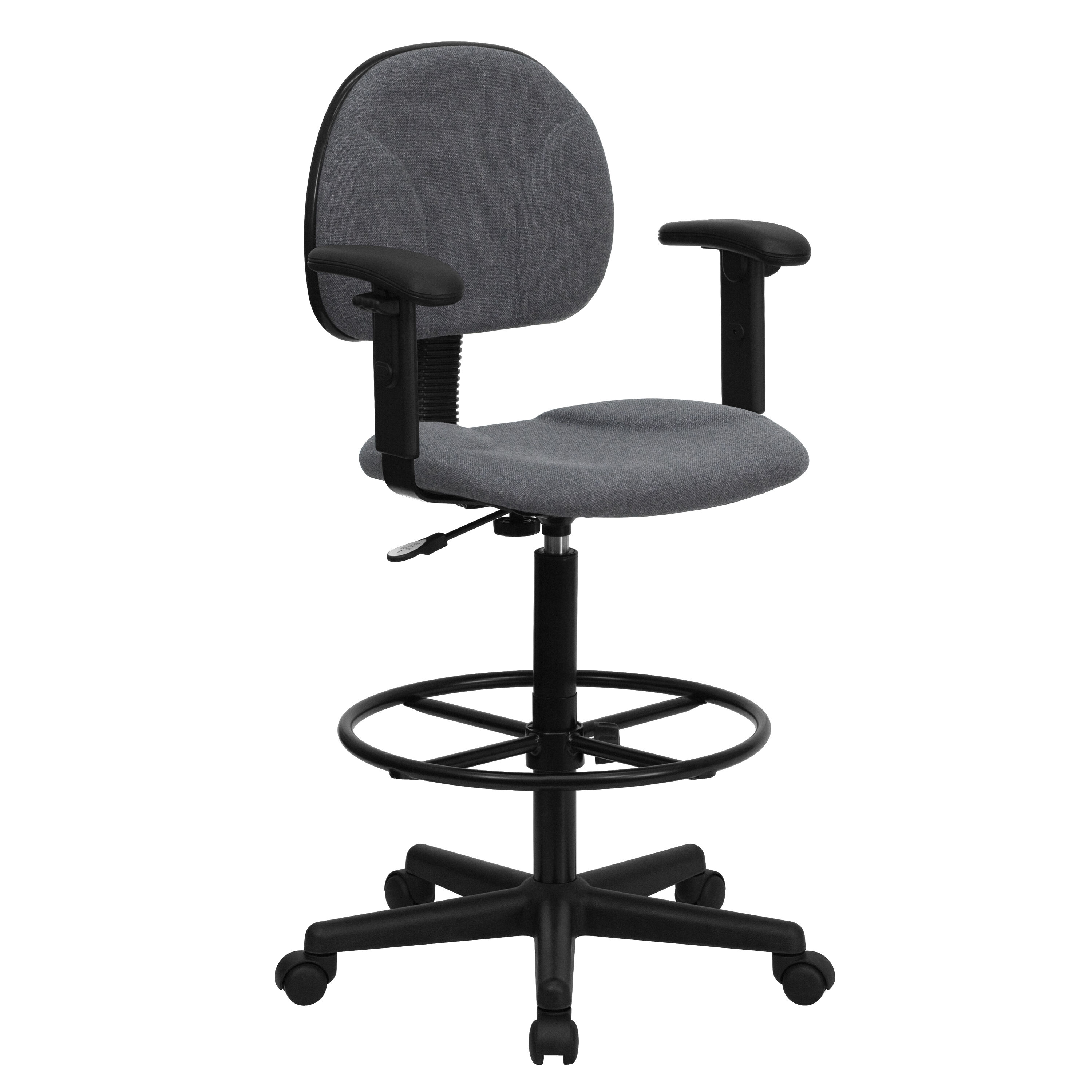 Merveilleux ... Our Gray Fabric Drafting Chair With Adjustable Arms (Cylinders:  22.5u0027u0027 27 ...
