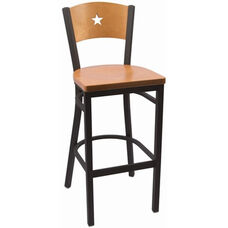 Liberty Series Wood Back Armless Barstool with Steel Frame and Wood Seat - Natural