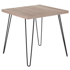 Union Square Collection Sonoma Oak Wood Grain Finish End Table with Black Metal Legs
