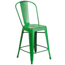 "Commercial Grade 24"" High Distressed Green Metal Indoor-Outdoor Counter Height Stool with Back"