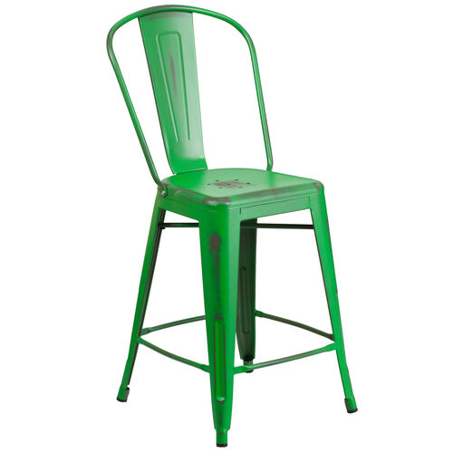 """Our Commercial Grade 24"""" High Distressed Green Metal Indoor-Outdoor Counter Height Stool with Back is on sale now."""
