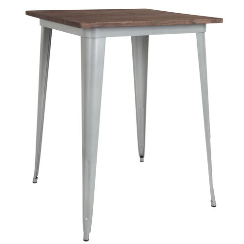 """Our 31.5"""" Square Silver Metal Indoor Bar Height Table with Walnut Rustic Wood Top is on sale now."""