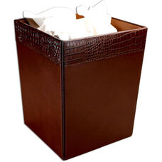 Crocodile Embossed Leather Square Waste Basket - Brown