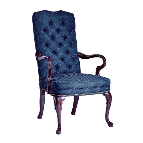 Hamilton Series Gooseneck Guest Chair with Tufted Back and Plain Seat