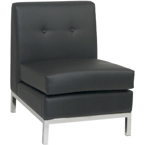 Our Ave Six Wall Street Faux Leather Armless Lounge Chair - Black is on sale now.