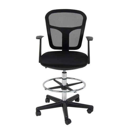 Riviera 360° Swivel Drafting Chair with Height Adjustable Chrome Footring and Casters - Black