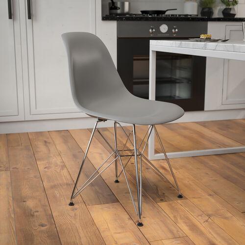 Elon Series Moss Gray Plastic Chair with Chrome Base