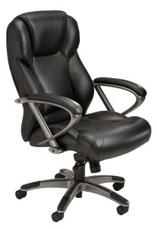 Ultimo 300 Series High Back Task Chair - Black Leather with Slate Frame