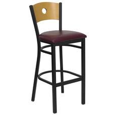 Black Circle Back Metal Restaurant Barstool with Natural Wood Back & Burgundy Vinyl Seat