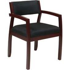 OSP Furniture Napa Guest Chair with Upholstered Back - Mahogany