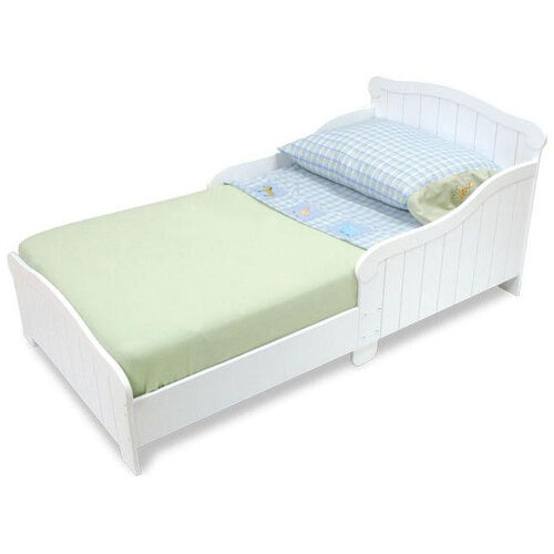 Our Nantucket Wooden Low Height Toddler Bed with Built in Safety Bed Rails - White is on sale now.