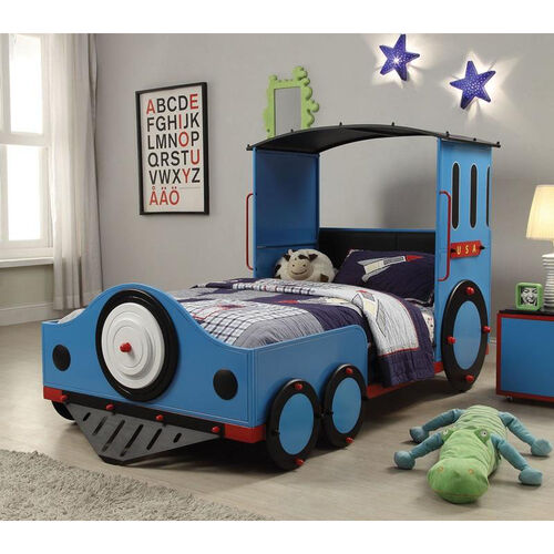 Our Tobi Complete Twin Bed - Train - Blue, Red, and Black is on sale now.