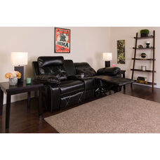 Reel Comfort Series 2-Seat Reclining Black LeatherSoft Theater Seating Unit with Straight Cup Holders