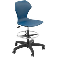 Apex Series Plastic Height Adjustable Swivel Stool with Foot Rest and 5 Star Base - Navy Seat - 21