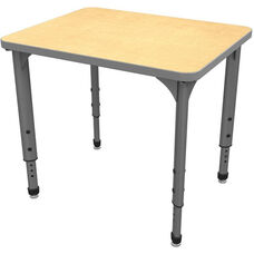 Apex Series Height Adjustable Rectangular Activity Table - Fusion Maple Top with Gray Edge and Legs - 30