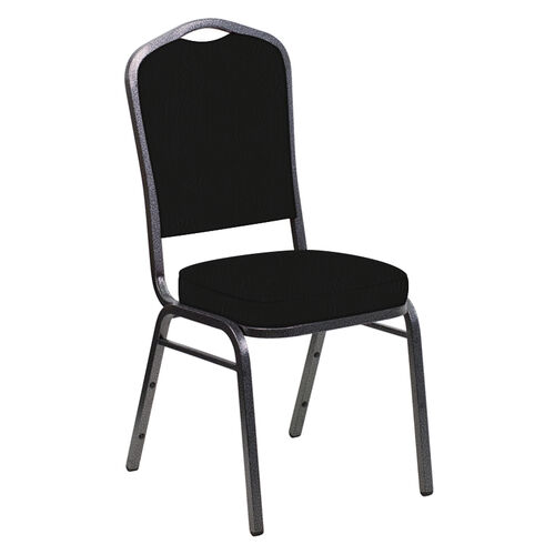 Our Embroidered E-Z Heidi Black Vinyl Upholstered Crown Back Banquet Chair - Silver Vein Frame is on sale now.
